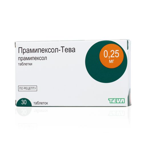 Прамипексол-Тева, 0.25 мг, таблетки, 30шт.