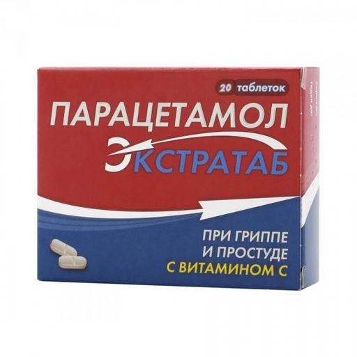 Парацетамол Экстратаб, 500 мг+150 мг, таблетки, 20шт.