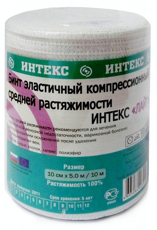 Интекс-Лайт Бинт эластичный компрессионный, 10 см х 5 м, с застежкой, средней растяжимости, 1шт.