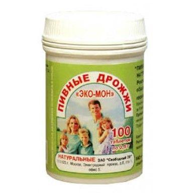 Пивные дрожжи Эко-мон натуральные, 0.5 г, таблетки, 100шт.