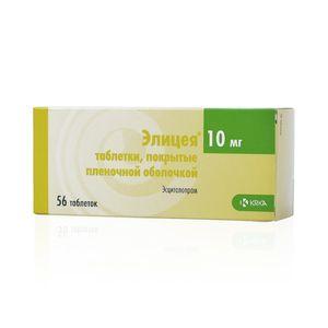 Элицея, 10 мг, таблетки, покрытые пленочной оболочкой, 56шт.