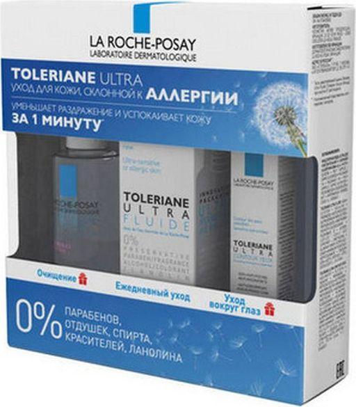 La Roche-Posay Toleriane Ultra Набор для кожи, склонной к аллергии, набор, флюид-уход 40 мл + вода мицеллярная 50 мл + уход вокруг глаз 2 мл, 1шт.