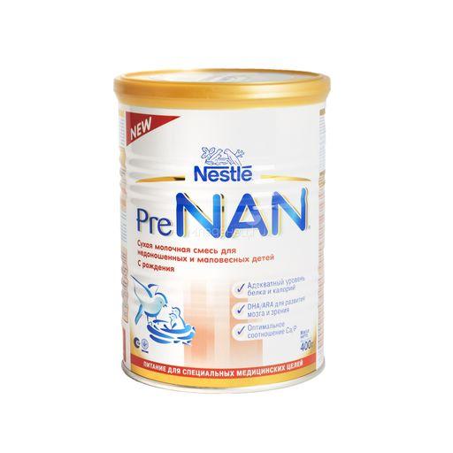 NAN Pre для недоношенных и маловесных детей, для детей с рождения, смесь молочная сухая, 400 г, 1шт.