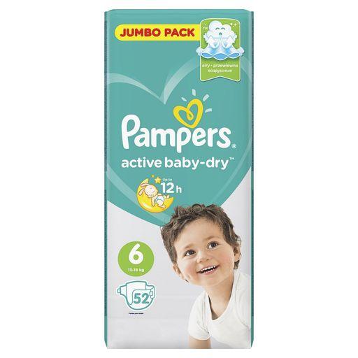 Pampers Active baby-dry Подгузники детские, р. 6, 13-18 кг, 52шт.