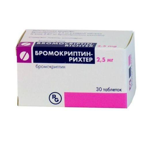 Бромокриптин-Рихтер, 2.5 мг, таблетки, 30шт.