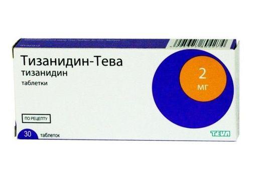 Тизанидин-Тева, 2 мг, таблетки, 30шт.