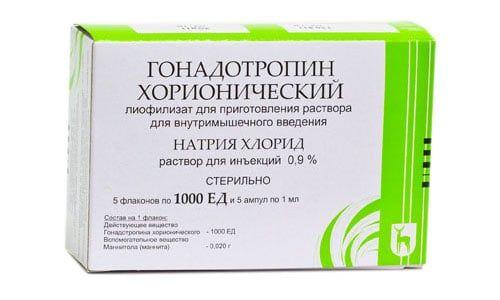 Гонадотропин хорионический, 1000 МЕ, лиофилизат для приготовления раствора для внутримышечного введения, в комплекте с растворителем, 1 мл, 5шт.