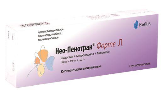 Нео-Пенотран Форте Л, 100 мг+750 мг+200 мг, суппозитории вагинальные, 7шт.
