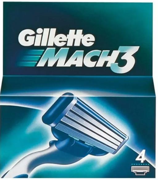 Gillette Mach 3 Кассеты для бритвенного станка, 4шт.