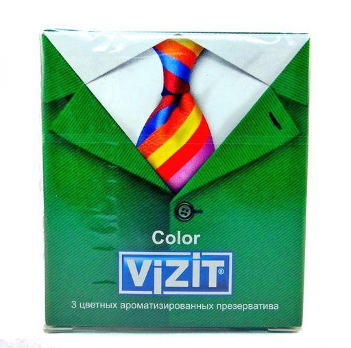 Презервативы Vizit Color, презерватив, цветные, ароматизированные, 3шт.