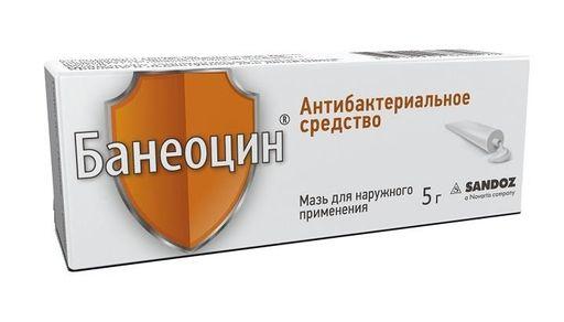 Банеоцин, 250 МЕ/г+5000 МЕ/г, мазь для наружного применения, 5 г, 1шт.