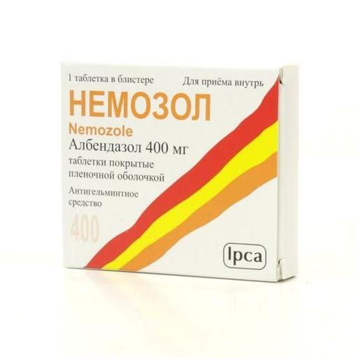 Немозол, 400 мг, таблетки, покрытые пленочной оболочкой, 1шт.