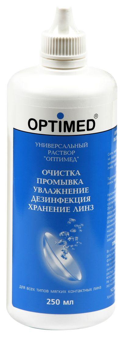 Optimed универсальный раствор для контактных линз, раствор для обработки и хранения контактных линз, 250 мл, 1шт.