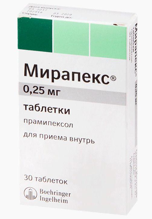 Мирапекс, 0.25 мг, таблетки, 30шт.