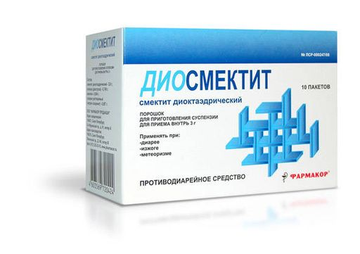 Диосмектит, порошок для приготовления суспензии для приема внутрь, 3 г, 10шт.