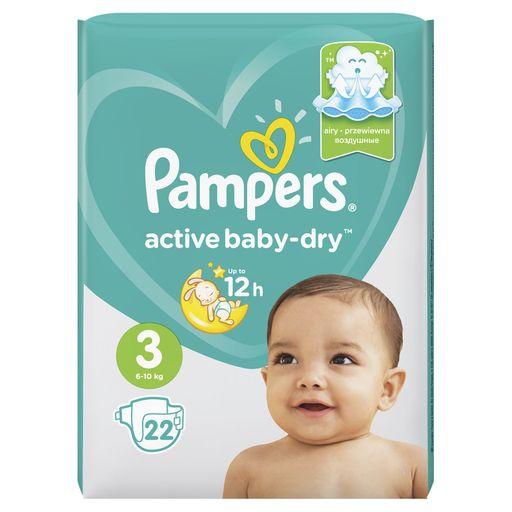Pampers Active baby-dry Подгузники детские, р. 3, 6-10 кг, 22шт.