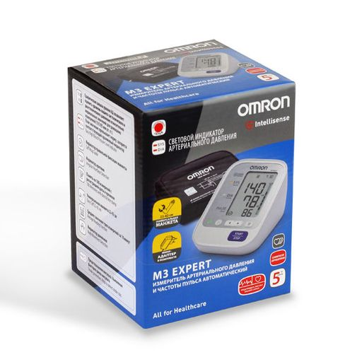 Тонометр автоматический OMRON М3 Expert, с адаптером и стандартной манжетой (22-32 см), 1шт.