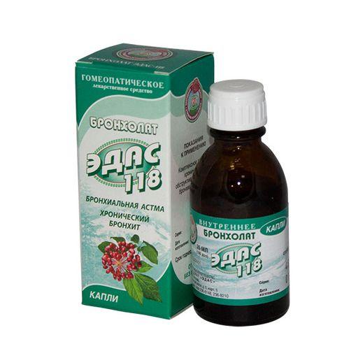 Эдас-118 Бронхолат, капли для приема внутрь гомеопатические, 25 мл, 1шт.