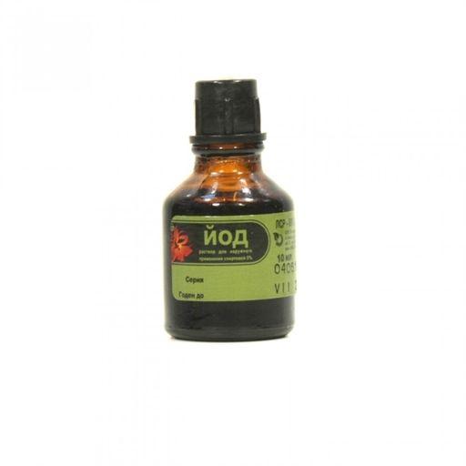 Йод, 5%, раствор для наружного применения спиртовой, 10 мл, 1шт.