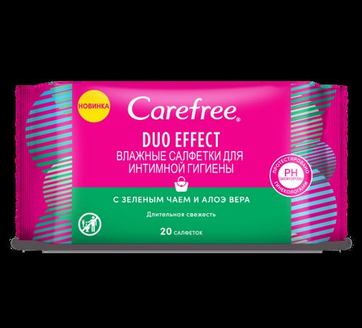Carefree Duo effect Салфетки влажные для интимной гигиены, салфетки влажные, с зеленым чаем и алоэ вера, 20шт.