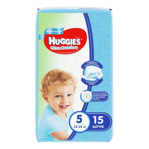 Huggies Ultra Comfort Подгузники детские, р. 5, 12-22 кг, для мальчиков, 15шт.