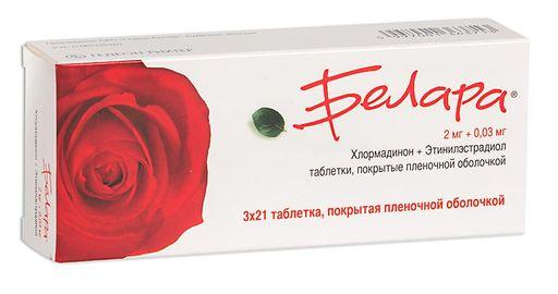 Белара, 2 мг+0.03 мг, таблетки, покрытые пленочной оболочкой, 63шт.