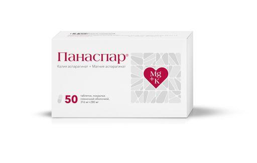 Панаспар, 316 мг+280 мг, таблетки, 50шт.