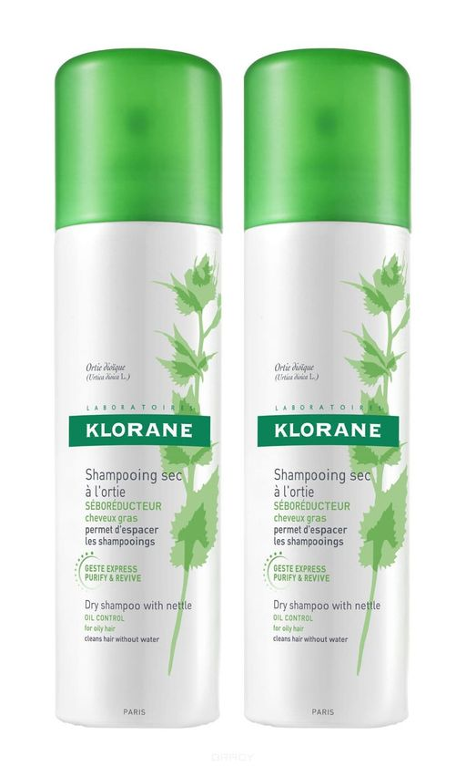 Klorane набор шампунь сухой с экстрактом крапивы, шампунь, 150 мл, 2шт.
