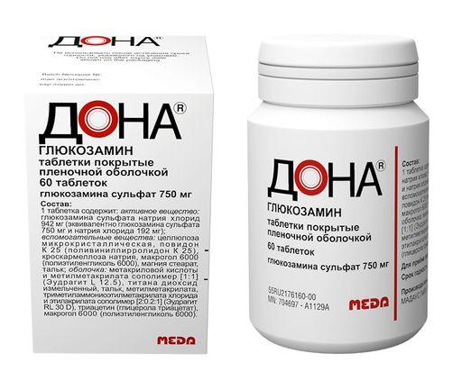 Дона, 750 мг, таблетки, покрытые пленочной оболочкой, 60шт.