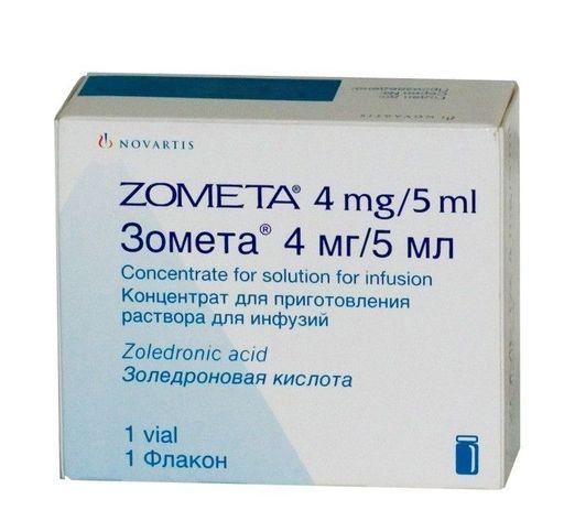 Зомета, 4 мг/5 мл, концентрат для приготовления раствора для инфузий, 5 мл, 1шт.