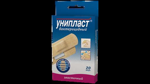 Унипласт лейкопластырь бактерицидный эластичный, 1,9 х 7,2 см, пластырь медицинский, из эластичной ткани, 20шт.