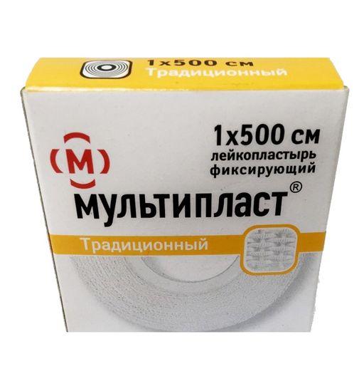 Мультипласт лейкопластырь фиксирующий, 1х500см, пластырь медицинский, 1шт.
