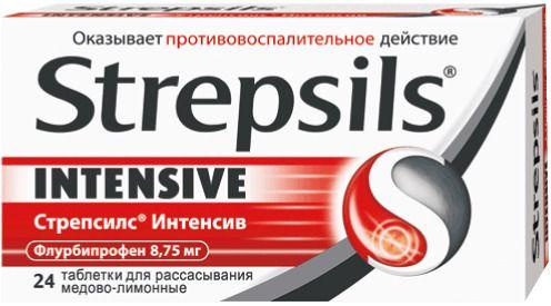 Стрепсилс Интенсив, 8.75 мг, таблетки для рассасывания, со вкусом меда и лимона, 24шт.