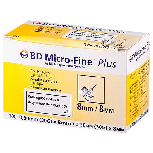 Игла одноразовая к инсулиновому инжектору BD Micro-Fine Plus, 30G(0.30х8)мм, 100шт.