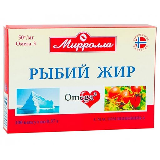 Mirrolla Рыбий жир с маслом шиповника, капсулы, 100шт.