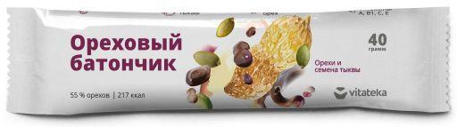 Витатека Батончик мюсли орех семена тыквы с витамином С, 40 г, 1шт.