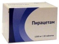 Пирацетам, 1200 мг, таблетки, покрытые пленочной оболочкой, 20шт.