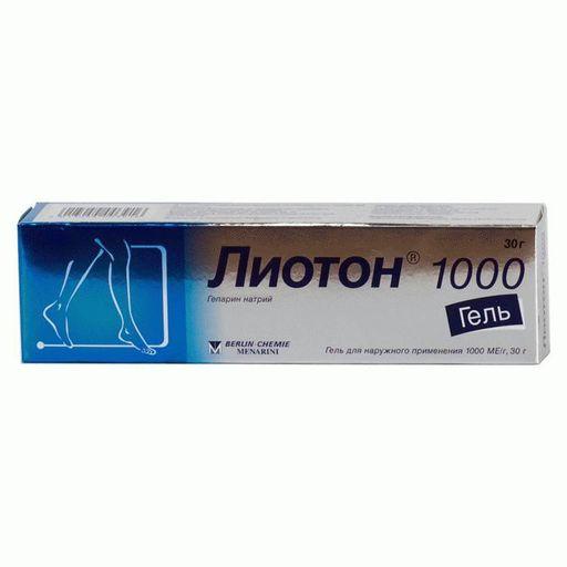 Лиотон 1000, 1000 ЕД/г, гель для наружного применения, 30 г, 1шт.