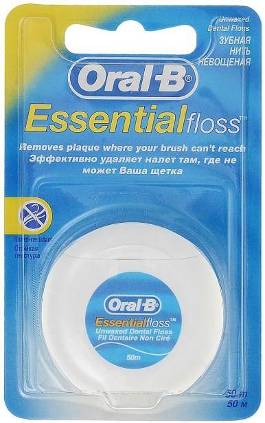 Oral-B Essential Floss Зубная нить невощеная, 50 м, нити зубные, 1шт.