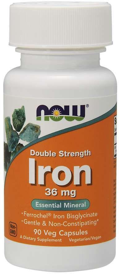 Now Iron Железо двойной силы, 36 мг, капсулы, 90шт.