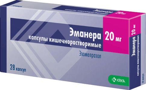 Эманера, 20 мг, капсулы кишечнорастворимые, 28шт.