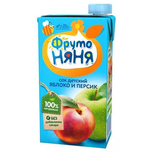 Фрутоняня сок неосветленный Яблоко и персик, сок, без сахара, 500 мл, 1шт.