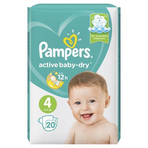 Pampers Active baby-dry Подгузники детские, р. 4, 9-14 кг, 20шт.