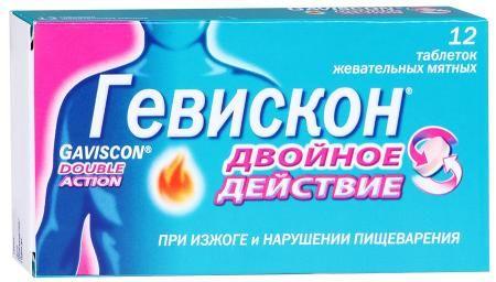 Гевискон Двойное Действие, таблетки жевательные, мятный вкус, 12шт.