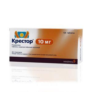 Крестор, 10 мг, таблетки, покрытые пленочной оболочкой, 126шт.