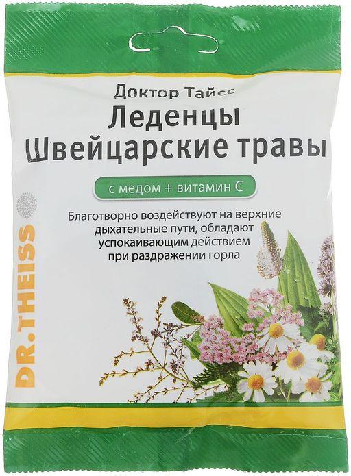 Доктор Тайсс леденцы Швейцарские травы с медом и витамином С, леденцы, 50 г, 1шт.
