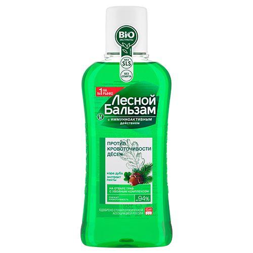 Лесной бальзам Ополаскиватель Против кровоточивости десен, с фтором, раствор для обработки полости рта, 400 мл, 1шт.