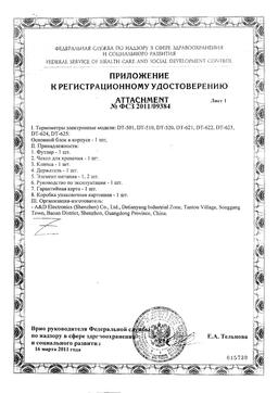 Термометр электронный DT-624 сертификат